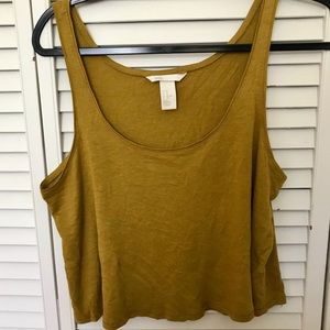 H & M Basic Chartreuse Cropped Tank